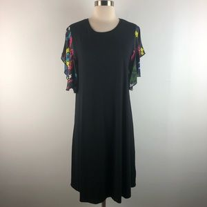 Desigual Printed Ruffle Sleeve Black A Line Dress